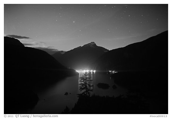 Diablo Lake by night with lights of dam,  North Cascades National Park Service Complex.  (black and white)