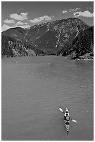Kayaker on Diablo Lake,  North Cascades National Park Service Complex. Washington, USA. (black and white)