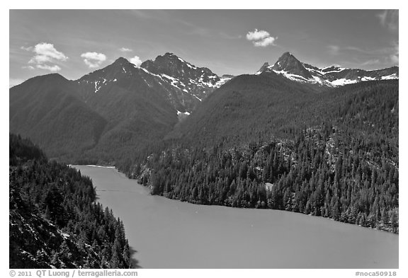 Diablo Lake with green waters, morning,  North Cascades National Park Service Complex.  (black and white)