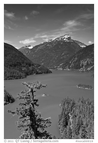 Colonial Peak and Pyramid Peak above Diablo Lake, summer morning,  North Cascades National Park Service Complex.  (black and white)