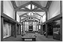 Inside Visitor Center, North Cascades National Park. Washington, USA. (black and white)