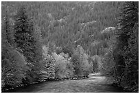 Skagit River in autumn, North Cascades National Park Service Complex.  ( black and white)