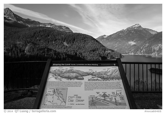 Shaping the Land interpretive sign at Lake Diablo overlook, North Cascades National Park Service Complex.  (black and white)