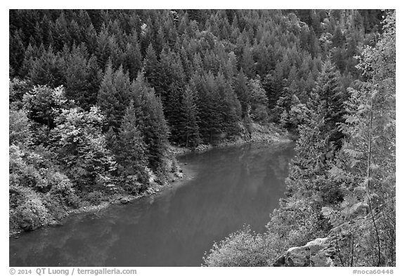 Emerald waters of Gorge Lake in autumn, North Cascades National Park Service Complex.  (black and white)