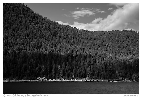 Ross Lake and resort, North Cascades National Park Service Complex.  (black and white)