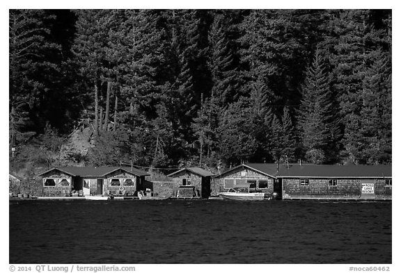 Ross Lake Resort, North Cascades National Park Service Complex.  (black and white)