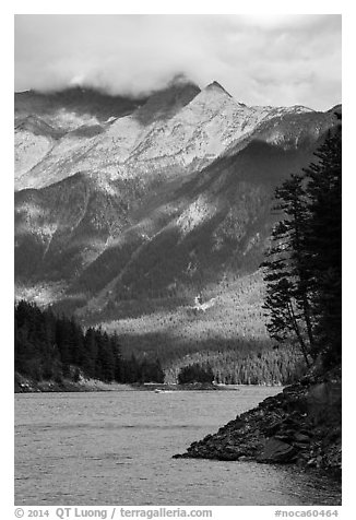 Peaks above Ross Lake, North Cascades National Park Service Complex.  (black and white)