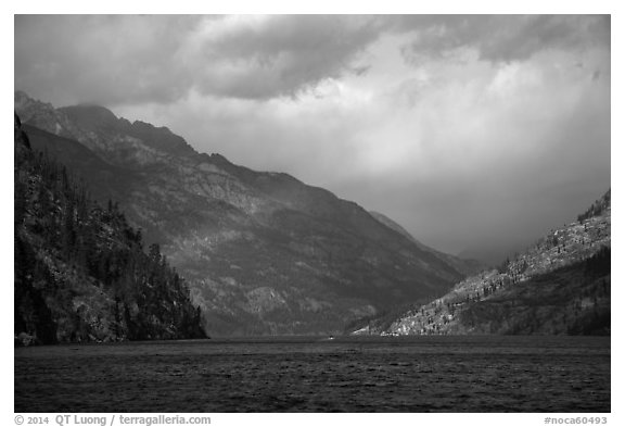 Lake Chelan and rainbow, North Cascades National Park Service Complex.  (black and white)