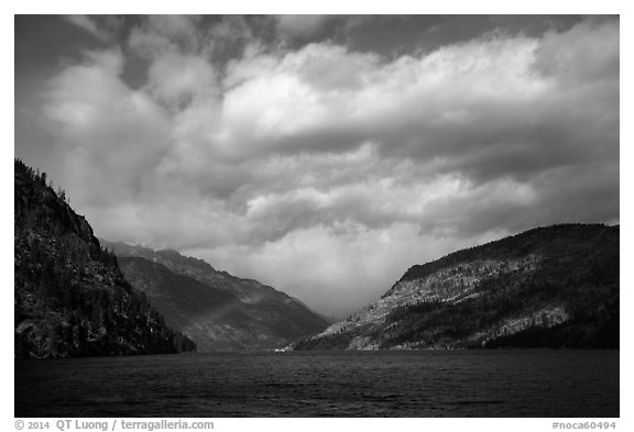 Rainbow and clouds, Lake Chelan, North Cascades National Park Service Complex.  (black and white)
