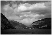 Rainbow and clouds, Lake Chelan, North Cascades National Park Service Complex.  ( black and white)