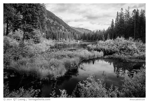 Mountains reflected in Coon Lake in the fall, North Cascades National Park Service Complex.  (black and white)
