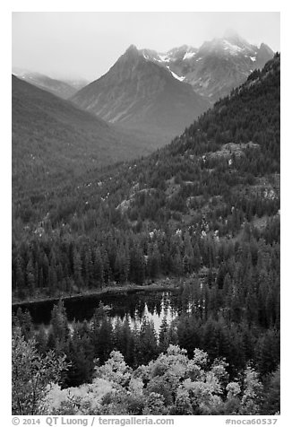Coon Lake and Agnes peak in autumn, North Cascades National Park Service Complex.  (black and white)
