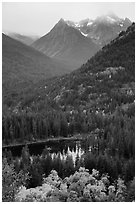 Coon Lake and Agnes peak in autumn, North Cascades National Park Service Complex.  ( black and white)
