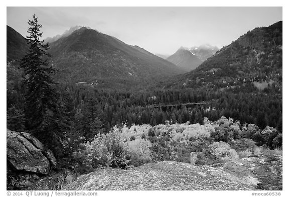 Coon Lake from above and Agnes peak, North Cascades National Park Service Complex.  (black and white)