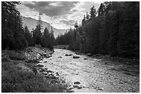 Stehekin River, looking down valley, North Cascades National Park Service Complex.  ( black and white)
