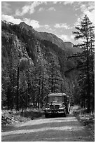 National Park shuttle bus on Stehekin Valley road, North Cascades National Park Service Complex.  ( black and white)