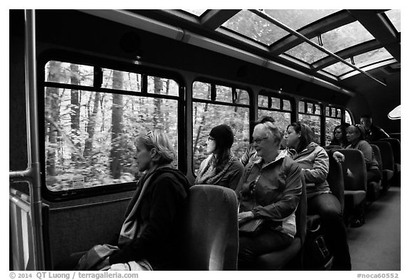 Aboard Stehekin Valley shuttle, North Cascades National Park Service Complex.  (black and white)