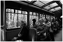 Aboard Stehekin Valley shuttle, North Cascades National Park Service Complex.  ( black and white)