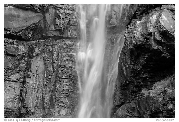 Upper Rainbow Falls and cliff, North Cascades National Park Service Complex.  (black and white)