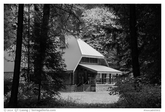 New schoolhouse, Stehekin, North Cascades National Park Service Complex.  (black and white)