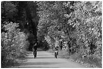 Bicyclists in autumn, Stehekin, North Cascades National Park Service Complex.  ( black and white)