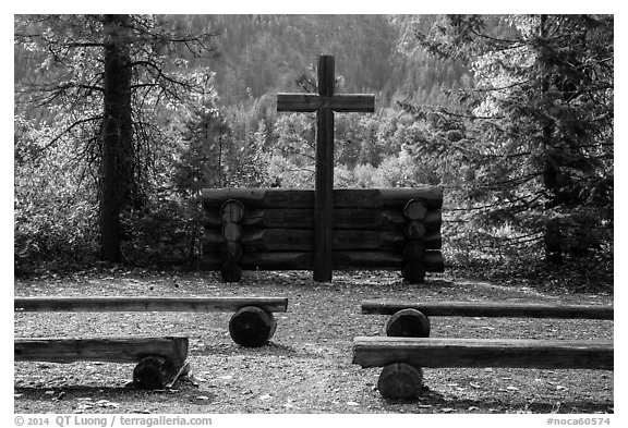 Groseclose meditation site, Stehekin, North Cascades National Park Service Complex.  (black and white)