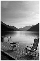 Two chairs on the shore of Lake Chelan, Stehekin, North Cascades National Park Service Complex.  ( black and white)