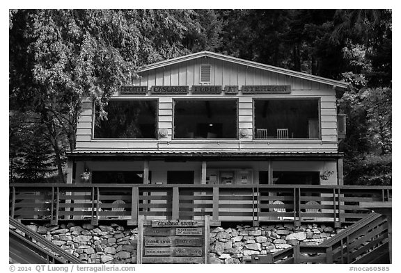 North Cascades Lodge at Stehekin, North Cascades National Park Service Complex.  (black and white)