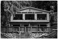 North Cascades Lodge at Stehekin, North Cascades National Park Service Complex.  ( black and white)