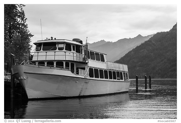 Lady of the Lake II, Stehekin, North Cascades National Park Service Complex.  (black and white)