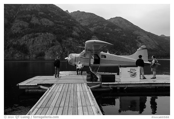 Floatplane and deck, Stehekin, North Cascades National Park Service Complex.  (black and white)