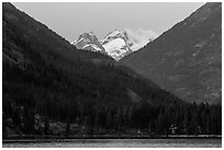 Snowy peaks above Stehekin and Lake Chelan,  North Cascades National Park Service Complex.  ( black and white)