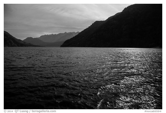 Sun shimmering in Lake Chelan waters, North Cascades National Park Service Complex.  (black and white)