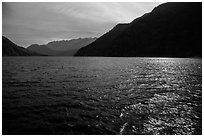 Sun shimmering in Lake Chelan waters, North Cascades National Park Service Complex.  ( black and white)