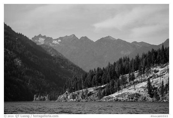 Peaks above Lake Chelan, North Cascades National Park Service Complex.  (black and white)