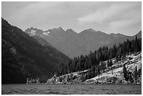 Peaks above Lake Chelan, North Cascades National Park Service Complex.  ( black and white)