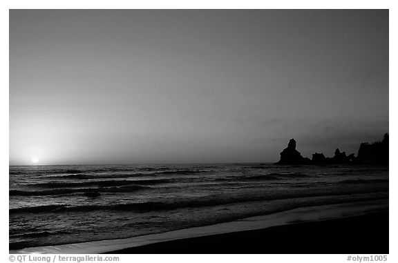 Shi-shi beach with sun setting. Olympic National Park (black and white)