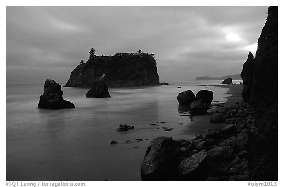 Blue seascape of seastacks at Dusk, Ruby beach. Olympic National Park (black and white)
