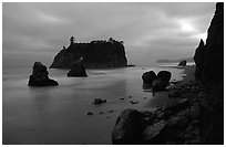 Blue seascape of seastacks at Dusk, Ruby beach. Olympic National Park, Washington, USA. (black and white)