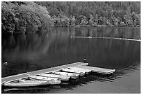 Emerald waters, pier and rowboats, Crescent Lake. Olympic National Park, Washington, USA. (black and white)