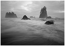 Seastacks, surf, and clouds, Second Beach. Olympic National Park, Washington, USA. (black and white)