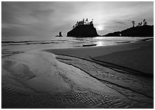 Stream, beach, and sea stacks at sunset, Second Beach. Olympic National Park, Washington, USA. (black and white)