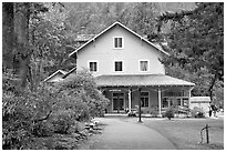 Crescent Lake Lodge dining hall. Olympic National Park ( black and white)