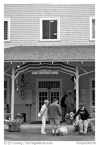 Crescent Lake Lodge Entrance. Olympic National Park (black and white)