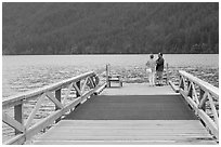 Couple on Pier, Crescent Lake. Olympic National Park ( black and white)