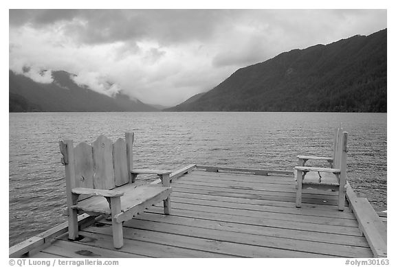 Two chairs on pier, Crescent Lake. Olympic National Park (black and white)