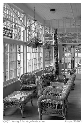 Chairs, Crescent Lake Lodge. Olympic National Park (black and white)