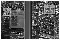 Rain forest, Hoh rain forest visitor center window reflexion. Olympic National Park, Washington, USA. (black and white)
