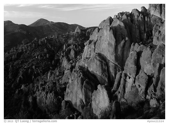 High Peaks with Chalone Peak in the distance, sunrise. Pinnacles National Park (black and white)