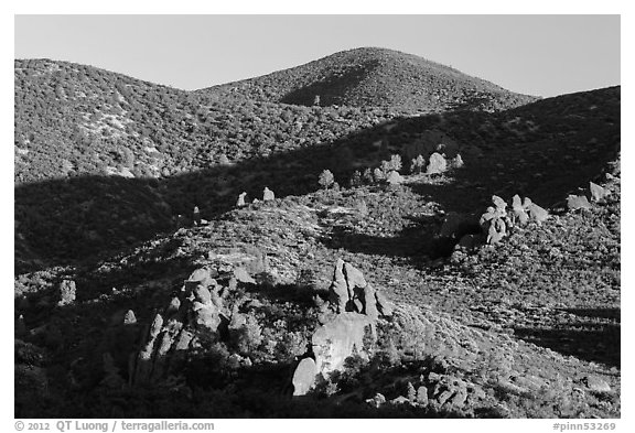 Rolling Gabilan Mountains with rocks and chaparral. Pinnacles National Park (black and white)
